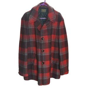 Pendleton Vintage Red Plaid Coat Quilted Large
